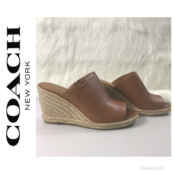 e1420c919ab Coach Saddle Gayle Semi Matte Calf Wedge Sandals NWT